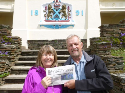 Martin and Janet Jones of Idyllwild, while visiting the UK in May, read the Idyllwild Town Crier in Plymouth on the Hoe at the colonnaded Belvedere, created in 1891. Photo courtesy the Jones