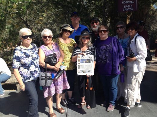 Forest Folk members at Living Desert on March 24 carried the Town Crier along for company. From left, Sandi Mathers, Pat Ruffner, Yvonne Smith, Audrey Brown, Pam Parsons, Bonnie Keefe, (and back row) Jeff Smith, John Brown and Carole Herman. Photo courtesy Forest Folk