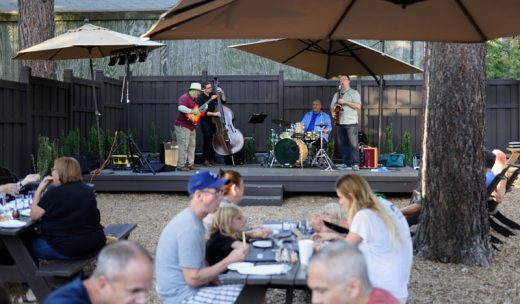 Diners at Ferro on Saturday night, July 23 found their food and drink supplemented by the classical jazz of the Tom Hynes Quartet, featuring, from left, Hynes, John Urban, Clayton Powell and Dan St. Marseille. Life on the Hill is good. Photos  by Tom Kluzak