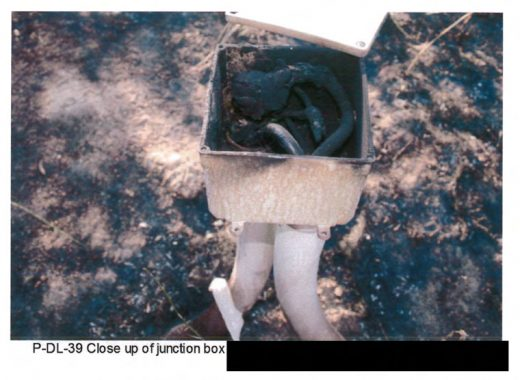 One of many photos of the junction box from Cal Fire's investigation report.