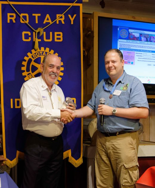 Shab El-Awar receives an Idyllwild Rotary squirrel from Idyllwild Rotary President Marc Kassouf after discussing how Rotary helped rebuild schools destroyed by earthquakes in Nepal, and repair cleft palates in Mexico and other countries at the weekly meeting on July 20. El-Awar is a member of the San Bernardino Sunset Rotary Club, and a previous district governor, and serves as the Rotary District 5330 International chair. In addition to personally donating $4 million to Rotary charities, Shab and his wife have facilitated many projects in Nepal, India, Brazil, Mexico and the U.S   Photos by Tom Kluzak