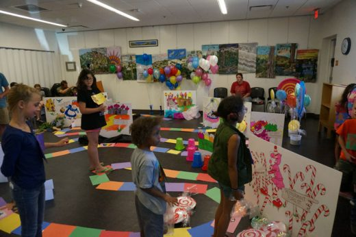 A super-sized game of Candyland was played July 7 at the Idyllwild Library. Photo by Chandra Lynn