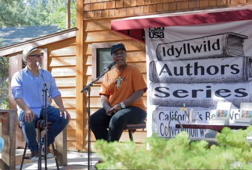 """Idyllwild author Eduardo Santiago kicked off the sixth-annual Idyllwild Authors Series with Meri Nana-Ama Danquah, author of """"Willow Weep for Me: A Black Woman's Journey Through Depression."""" Danquah was born in Ghana and came to the United States at the age of 6. She related her many challenges as an author, mother and a black woman who was """"supposed to be strong"""" but suffered from a debilitating disease. The series is Sundays at Café Aroma starting at 4 pm. More information can be found at penusa.org/idyllwild-2016."""