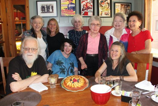 "Idyllwild Francophonie celebrates Bastille Day with a ""tarte Tatin,"" a delicious French dessert baked by Bronwyn Jones (second from right standing) at Cafe Aroma. Photo courtesy Francoise Frigola"