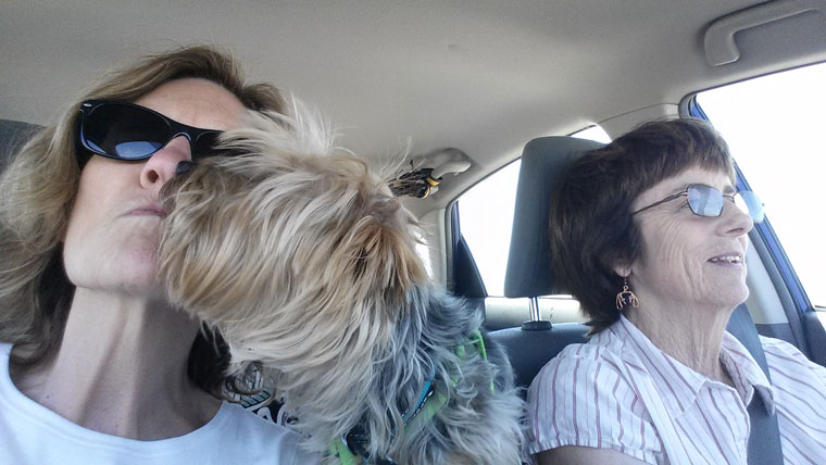 ARF's Janice Murasko (left) and Terri Hardy with always-affectionate Lucky on their road trip to return Lucky to his owner in Utah. What's a road trip without dog kisses?  Photos courtesy Janice Murasko