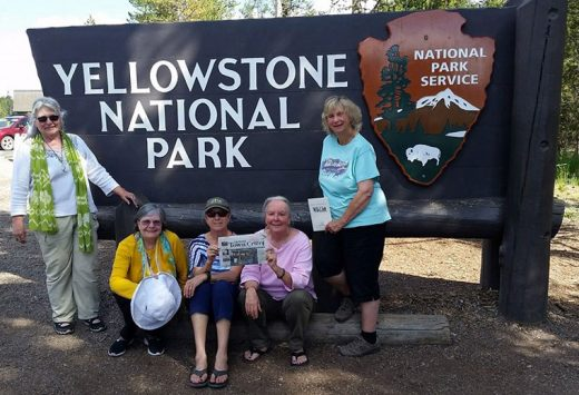 "This picture is from ""Celebration of the Circle with Katya Williamson's"" recent writing retreat to Yellowstone and the wilderness of Montana. From left, Mary Morse, Carol McClintic, Kathy Halkin, Charlene Chindlund and Williamson. Photo by nice lady who drove by"