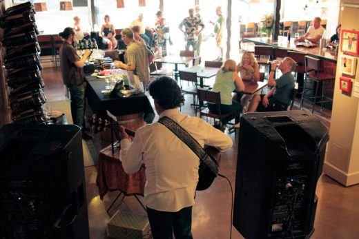 Crowds gathered for Middle Ridge Winery Tasting Gallery's Wine-Down Weekend, featuring the music of guitarist Joe Baldino. Photo by John Drake