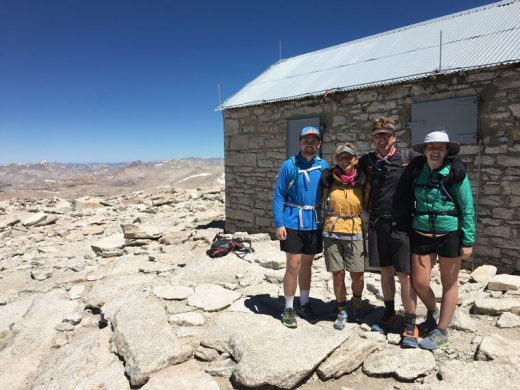 Diana Kirkham, second from left, son Brandon, far left, husband Pete and daughter Hayleigh on top of Mt. Whitney, 14,505 feet on July 19. Kirkham, new kindergarten and first-grade teacher at Idyllwild School, and family are avid hikers and campers. Photo courtesy Diana Kirkham