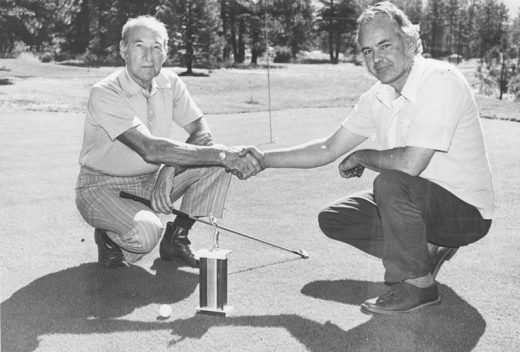 "In accepting the W.A.G.G. championship trophy in September 1973 from Reid Phippeny (right), Jim Eymann was heard to say, ""In all humility, I accept the trophy and consider it a single honor to have bested in head-to-head competition many of Idyllwild's leading citizens — industrialists, editors, ministers and civic leaders."" File photo"