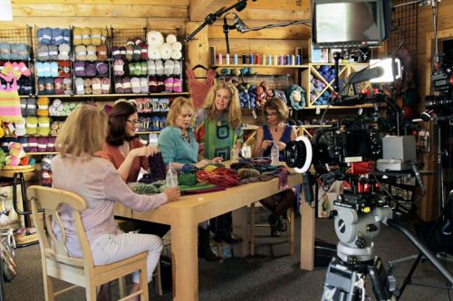 A Waldorf-Crawford video shoot at Earth 'N Fire's Knit Shop will be part of a nationally distributed infomercial airing in October 2016. Seen from left in this photo are Summer Brown, Karla Leopold, Deborah Sheppard, Marcia Waldorf and Merle Swane. Photo by John Drake