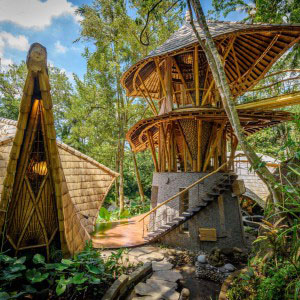 Elora Hardy designs and builds dreamlike homes and structures in Bali using treated bamboo. ictured here is one of the homes her company Ibuku built in Bali.  Photo courtesy of Ibuku