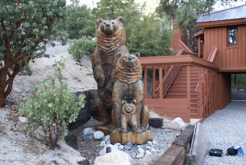 Three David Roy carved bears, one of them nearly 10 feet tall, were stolen from in front of a home on Upper Pine Crest Drive. The incident is under investigation. Photo courtesy Jim Brannan