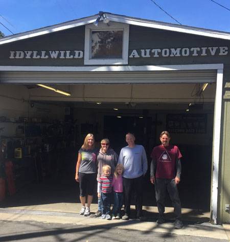 Idyllwild Automotive former and present owners from left, back row are Sherry Kaufman, Carli Nichols, David Schnalzer and Ron Kaufman. In the front row, from left are Gaige and Kenli Schnalzer. The Kaufmans sold the well-established building and business to the Schnalzer family. Escrow closed end of March this year.Photo courtesy of Carli Nichols