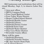 Labor Day Holiday Closings 2016