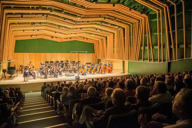 The grand opening of the William M. Lowman Concert Hall Saturday evening had a full house.	Photo by Jenny Kirchner