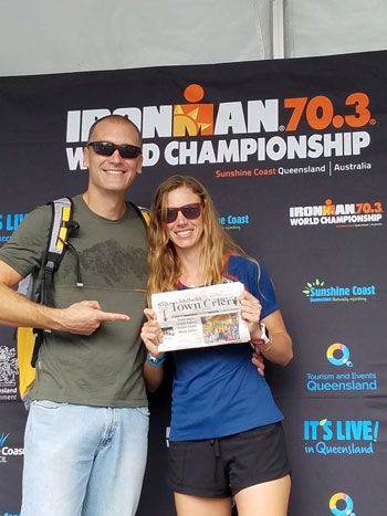 Jason Laurence and Alex Napier competed at the Ironman 70.3 World Championships in Mooloolaba, Australia, last Sunday. They caught up on the news back in Idyllwild while waiting for the games to begin. Photo courtesy Alex Napier