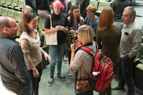 Idyllwild Arts Alumna Elora Hardy (second from left) speaks with current students after her lecture Friday night on campus.Photo by Jenny Kirchner