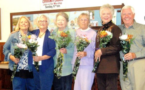 A new board and chairs have been elected to lead the Idyllwild Garden Club. This high-energy group will be working on some great programs for their monthly meetings, put on their annual Lilac Tea, Walk and Art show the end of April and will be seeking local gardens for a Garden Tour in June. Pictured, from left, are Treasurer Dianne Johnson, 2nd Vice President Toni Berthelotte, Secretary Bronwyn Jones, 1st VPs Antje Banks and Joy Allgeier, and President Gary Parton. Not shown were Emily Kelley and Marsha Freed, Hospitality; Suzie Bennett, Membership; Tricia Pilkington, Junior Garden; and Mike Feyder, Beautification. Photo by Marlene Pierce