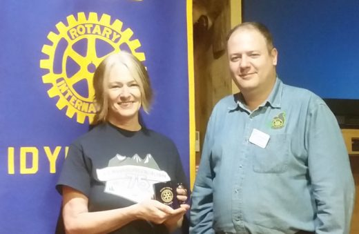 Julie Pendray, former journalist and television host in San Diego, delivered a talk to the Idyllwild Rotary Club on Sept. 28 on the Pacific Crest Trail towns that host the hikers between Idyllwild and the Canadian border. Shown with Pendray is Rotary President Marc Kassouf. Photo by Thom Wallace