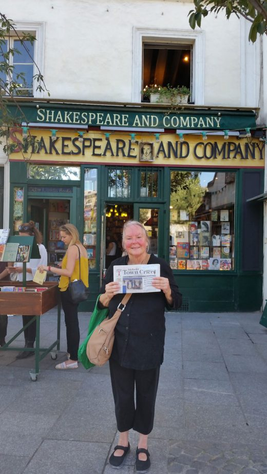 Charlene Chindlund in Paris with the Town Crier at Shakespear and Company book store. Charlene didn't know the Idyllwild connection to the bookstore when she posed for the photo. It was opened by local resident Bill Whitman's uncle, George Whitman. After his death, his daughter, Sylvia Beach Whitman, took over the bookstore. Photo courtesy Charlene Chindlund