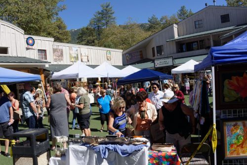 Saturday was the Art Alliance of Idyllwild's 19th-annual Art Walk and Wine Tasting. Many of the artists set up exhibits and displays of their work at the Village Centre complex. Photo by Tom Kluzak