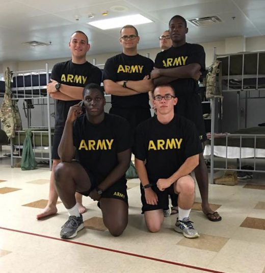 Anthony Negrete (standing on left), of Idyllwild, is finishing his basic training at the U.S. Army's Fort Benning in Georgia. He will graduate from basic training in early February as an M1 Abrams tank crew member. Photo courtesy Mike Vladika