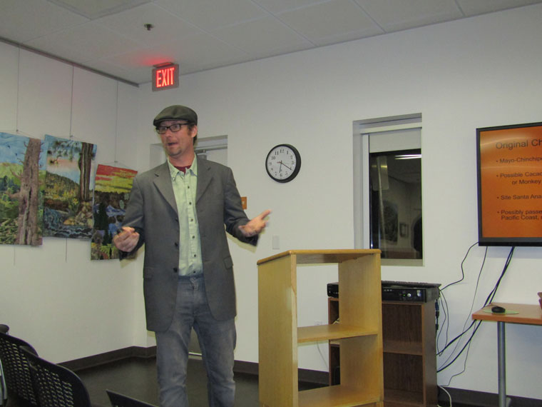 "On Tuesday, Nov. 8, local chocolatier Erik Landis, owner of El Buen Cacao, talked about ""From Bean to Bar: Sweet Art of Making Chocolate"" at the Idyllwild Library. Photo by Amy Righetti"
