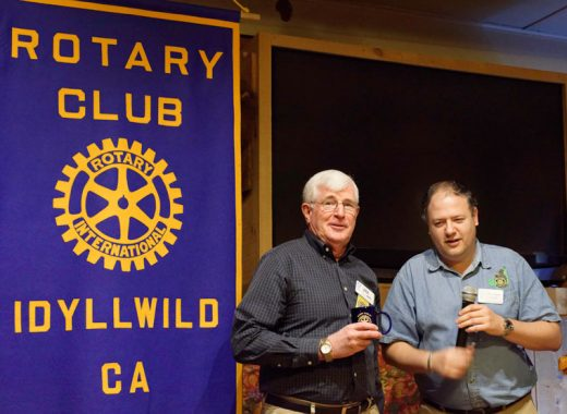 The newest member of the Idyllwild Rotary Club, Jim Wise (left), received an Idyllwild Rotary mug from President Marc Kassouf after Wise explained a little about himself to members at the weekly meeting on Wednesday, Nov. 16.  Photo by Tom Kluzak
