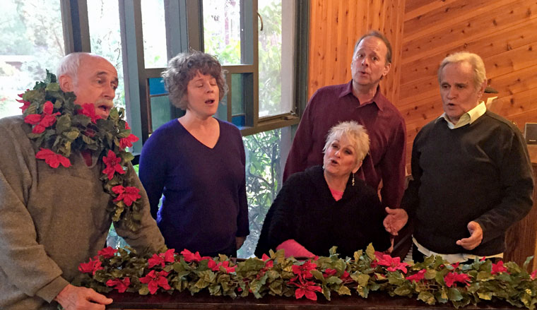 "Singing Stratford Players rehearse for their holiday show ""Cheers, a Warm and Humorous Look at Christmas."" From left are Chic Fojtik, Allison Fedrick, Barbara Rayliss, Christopher Morse and Derrik Lewis.  Photo by Marsha Kennedy"