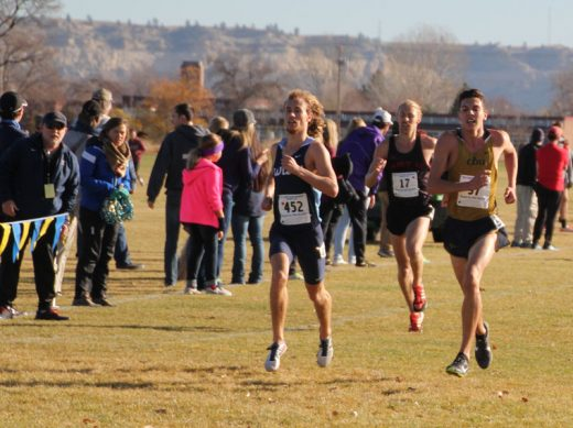 Jayden Emerson of Idyllwild, (center, no. 97), finishes 32nd in the NCAA Division 2 Western regional championships earlier this month. He and his school, California Baptist University, qualified for the NCAA Division 2 championship to be held in Florida. Photo by Jessica Priefer
