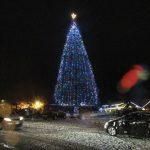 Phyllis Mueller steps away from lighting Christmas tree