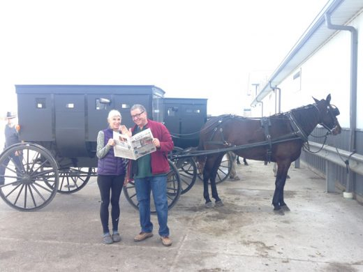Kate and Vic Sirkin enjoy the Town Crier while traveling through Indiana's Amish country. Photo courtesy the Sirkins