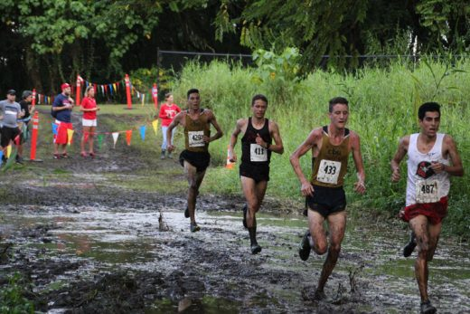 Jayden Emerson (center, 429), sophomore at California Baptist University, finished seventh out of 67 runners in the 2016 Pac West Cross Country Championship held in Hawaii on Oct. 22. Emerson, from Idyllwild, finished the 8K race in 28:02:58. Photo by Jessica Priefe