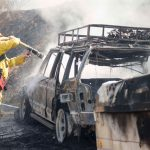 Fire closed Highway 74 for several hours