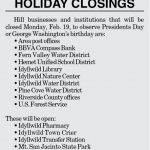Holiday Closings for February 21, 2018