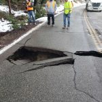 New roadway collapse on Highway 243; but work continues