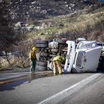 Truck overturns blocking 243 Friday night